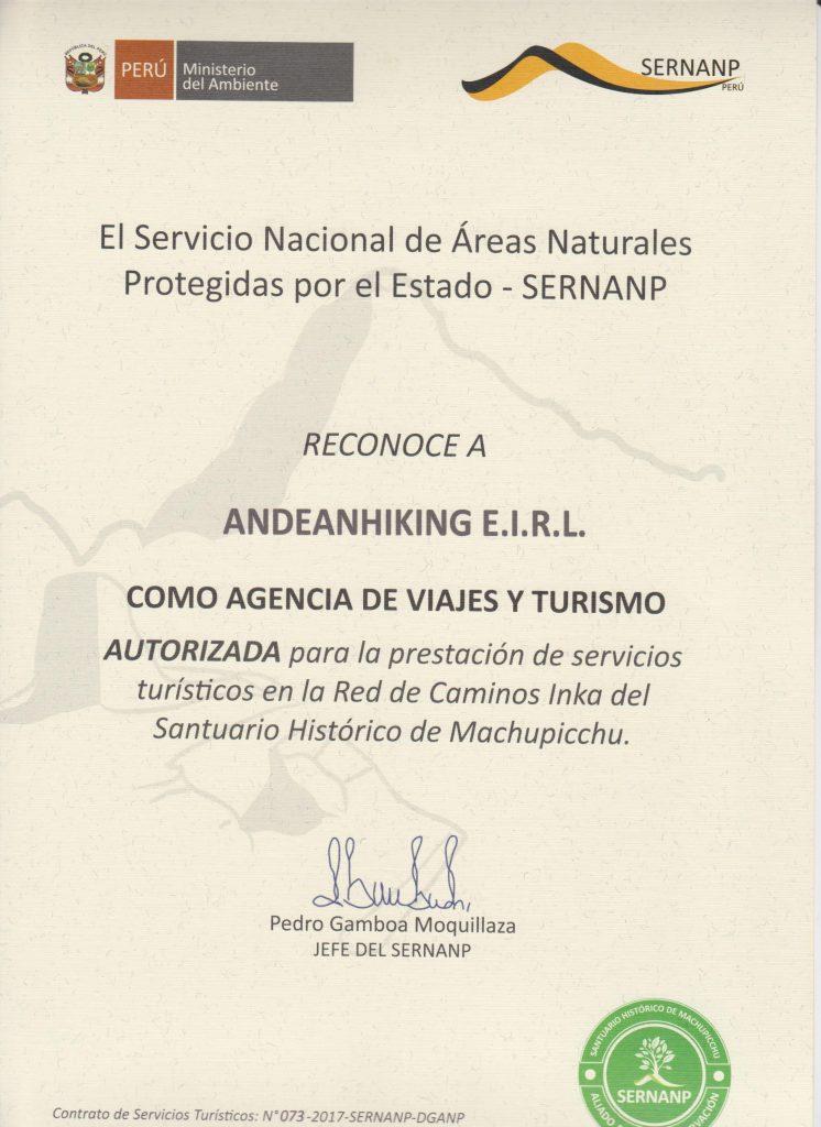 Certificado camino inca